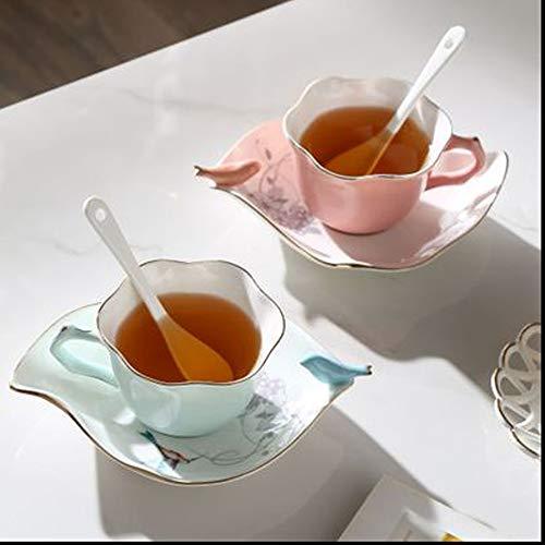 B.Hamster Fine China Teacup with Saucer and Spoon Set of 2 Vintage Royal Bone China Teacup Set 7Oz (Cup=Brids (Vintage Fine Bone)