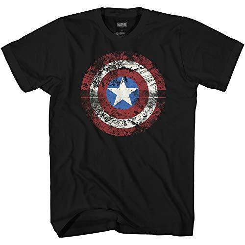 Marvel Captain America Distressed Shield Logo Mens T-Shirt(Black,Small) -