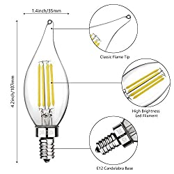 Boncoo E12 Candelabra LED Bulbs Dimmable 60W Equiv