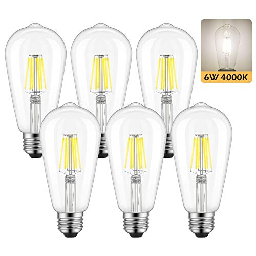 Dimmable Edison LED Bulb, Daylight White 4000K, Kohree 6W Vintage LED Filament Light Bulb, 60W Equivalent, ST64 E26 Base for Restaurant,Home,Reading Room, 6 Pack(Daylight White, NOT Soft/Warm White)