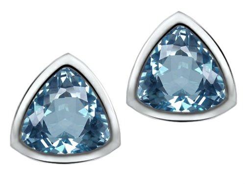 Star K Sterling Silver 7mm Trillion Cut Earring Studs