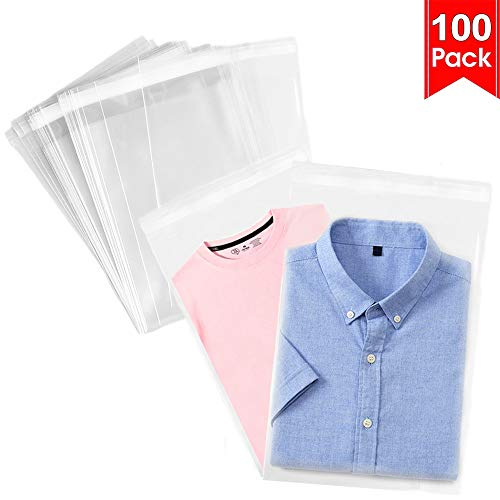 100 Pcs 11x15 Clear Resealable Cello Cellophane Bags Tape Strip on Lip Glossy Self Sealing Plastic Bags for Packaging Clothing Shirts Party Favors Decorative Wedding Basket Supplies(11x15 inches)