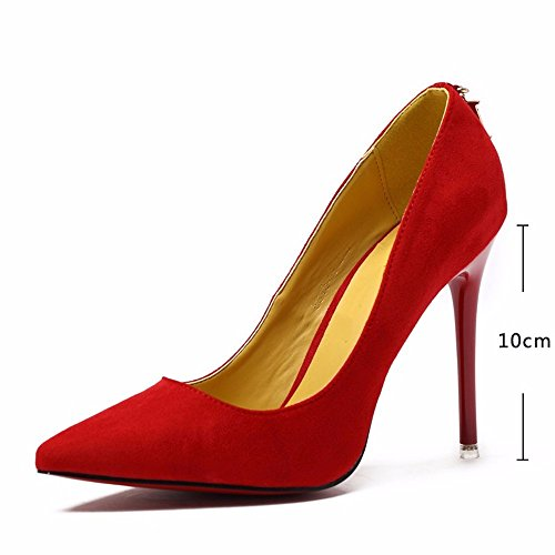 HXVU56546 El Alto Talón Zapatos De Mujer Fina Con La Primavera Y El Otoño, Nuevo Atractivo Solo Zapatos De Punta Mujeres Zapatos De Satén Trabajar The Red