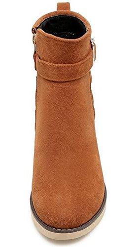 Idifu Kvinners Vintage Spenne Midten Chunky Hæler Frostet Ankelstøvletter Side Zippe Korte Sokker Brune