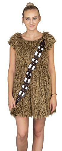 Star Wars I Am Furry Chewbacca Chewie Brown Skater Dress Costume (Juniors Large) -