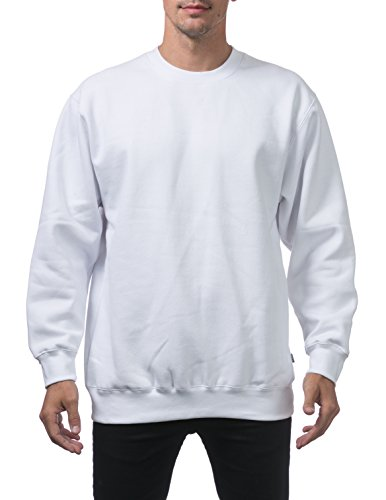 Pro Club Men's Heavyweight 13oz Crew Neck Fleece Pullover Sweatshirt, 3X-Large, Snow White