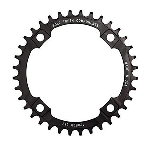 Wolf Tooth Components 36t 120bcd Drop-Stop Chainring for SRAM 2x10 Cranks, Black ()