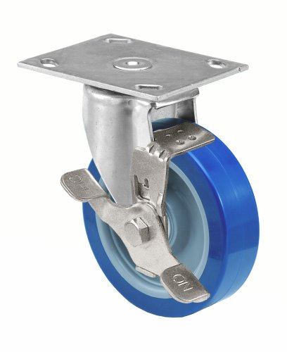 E.R. Wagner Americaster Plate Caster, Swivel with Strap Brake, Dust Cover, Polyurethane on Polyolefin Wheel, Delrin Bearing, 275 lbs Capacity, 4'' Wheel Dia, 1-1/4'' Wheel Width, 5-1/8'' Mount Height, 3-3/4'' Plate Length, 2-3/4'' Plate Width by ER Wagner