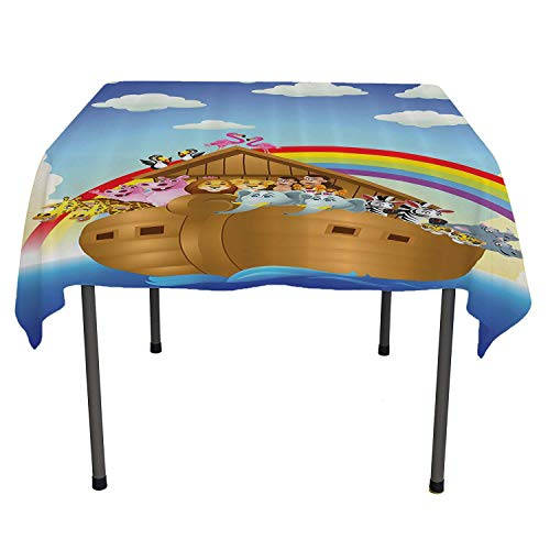 top Quality tablecloths llustration of Cute Animals in Noahs Ark Sailing in Sea Ship Old Story Sunset Rainbows Table Cloth Picnic Outdoor Spring/Summer/Party/Picnic 52 by 70