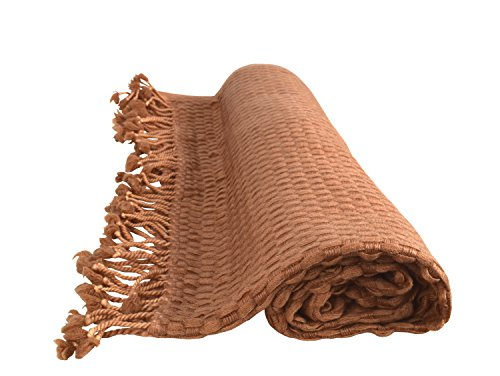 Peach Couture Home Collection Luxurious Look and Feel Basket Weave Cashmere Wool Throw with Tassels 50 x 60 in (Beige)