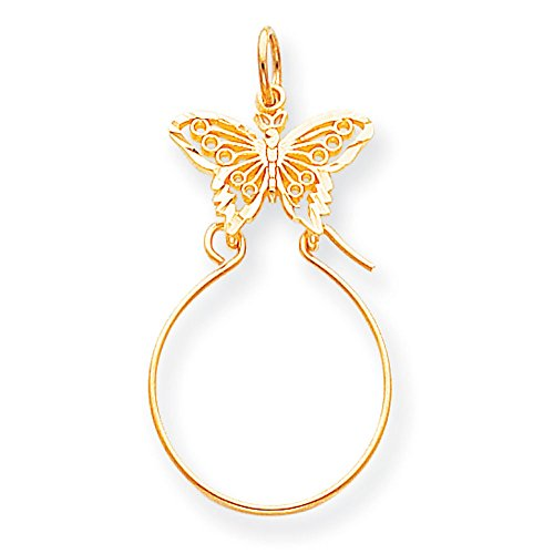 Gold Butterfly Charm Holder - 10K Yellow Gold Butterfly Charm Holder Pendant