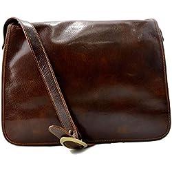 Bolso messenger de piel bandolera de cuero bolso cartero bolso de hombre piel cartera de cuero bolso de espalda maletin de piel marron
