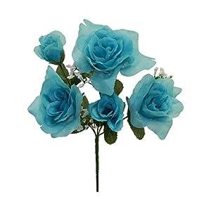 "13"" Rose Bush Bridal Bouquets Silk Wedding Flowers Centerpiece 5 Roses 27"