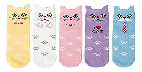 Maiwa Cotton Novelty Cats animal No Seam Socks 5 Pack for Girls (6years-8years/Kid 12T-2/18cm-20cm, - Childrens Toe Socks