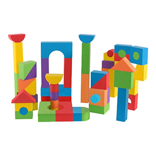 Premium Joy Foam Building Blocks Set for Kids - 68 Soft Pieces - 6 Bright Colors - Made in Taiwan from Quality Foam - Construction Stacking Toy for Boys and ()