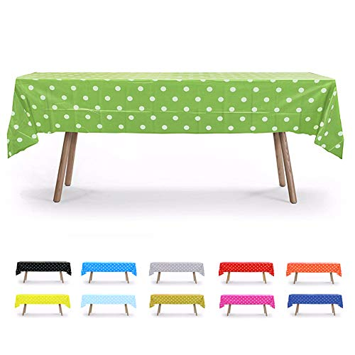 6 PACK, 54 x 108 Lime Green Polka Dot Rectangular Plastic Table Cover, Party Table Cloths, Dining Table Cover, Plastic Table Cloth Reusable (PEVA) (Polka Dot Lime Green)