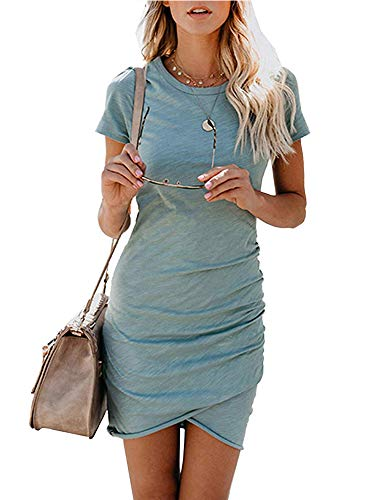 - Women's Short Sleeve Bodycon Dresses - Sexy Ruched Tulip Hem Sheath Mini Dresses Small Grey Blue