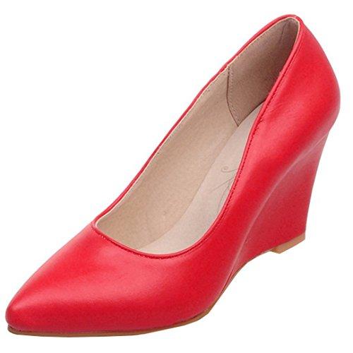 a6cfe84b947c0b YE Damen Keilabsatz Pumps Spitze High Heels Geschlossen mit 8cm Absatz  Elegant Schuhe Rot