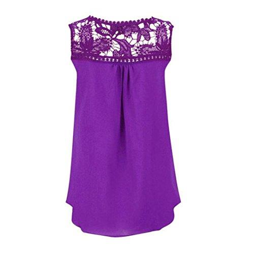 Chiffon Vest Femmes Dbardeurs Blouse Top sans Reaso Manches Lace Violet Summer Spliced xqYUpdqnRE