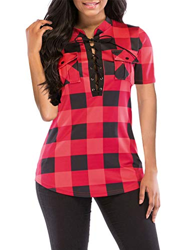 (Womens Pretty Short Sleeves Deep V Neck Blouses Glen Checked Shirt Red XL)