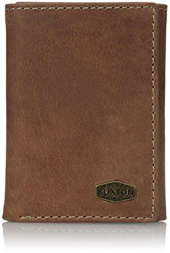 Buxton Men's Expedition RFID Blocking Leather Three-fold Wallet, Saddle, One Size -