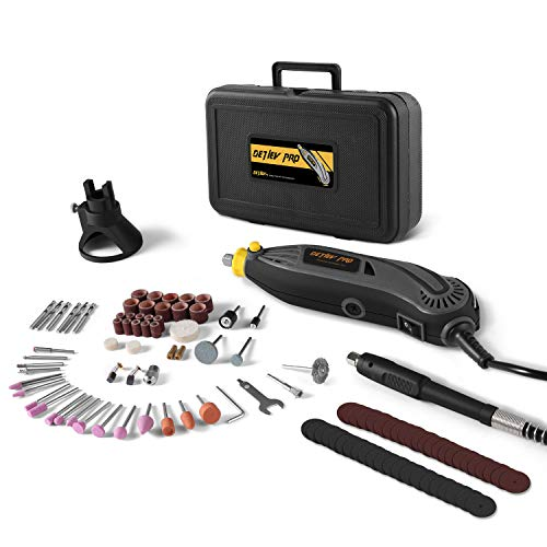 (DETLEV PRO Rotary Tool Kit with 100 Accessories, 7 Variable Speed with Flexible Shaft for Cutting Sanding and Polishing, RTM4132-10E)