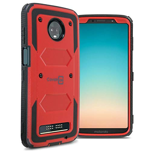 CoverON [Tank Series] Moto Z3 Case, Moto Z3 Play Case, Protective Full Body Phone Cover with Tough Faceplate for Motorola Moto Z3 / Moto Z3 Play - Red