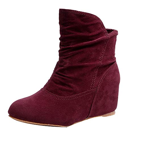 LIM&Shop ⭐ Women's Fashion Casual Outdoor Low Wedge Heel Booties Shoes Close Toe Ankle Boots Chelsea Boot Oxford Wine