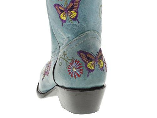 Womens Turkis Sommerfugl Og Blomster Brodert Skinn Cowboy Boots Klipp Tå Turkis
