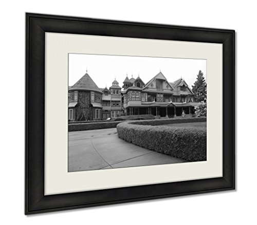 Ashley Framed Prints Winchester Mystery House Front View And Gardens, Wall Art Home Decoration, Black/White, 26x30 (frame size), AG5431447