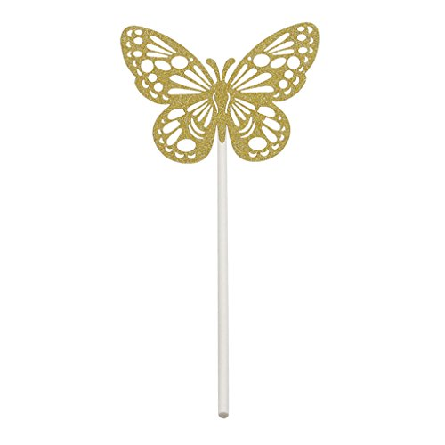 MonkeyJack Gold Silver Glitter Hollow out Butterfly DIY Cupcake Topper Cake Pick Wedding Christmas Party Cake Decoration - gold