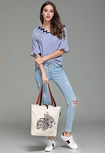 So'each Women's Rabbit Geometry Graphic Canvas Handbag Tote Shoulder Bag