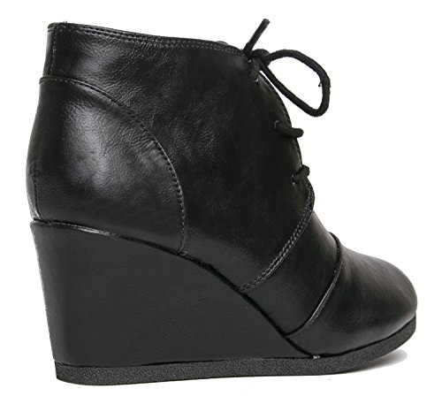 Lace Ankle Black Bootie Casual Short Low Comfortable J Women's Heel Bootie Heeled Adams Wedge Fashion Boot up Heel Pu TExaEqwRSz