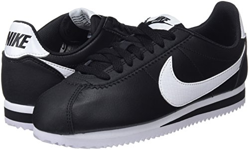 Cortez Running 016 black Nike Classic white Leather Wmns Scarpe black Donna Nero x7npwAqC