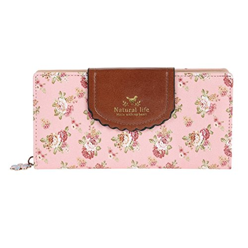 Damara Womens Patchwork Flap Clasp Expandable Zipper Wallet,Pink