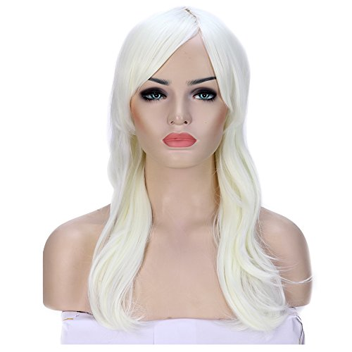 Anime Cosplay Synthetic Wig Long 11 Colors Heat Resistant Fiber Full Wig with Bangs Layered Curly Wavy Vogue 23'' / 58cm for Women Girls Lady Fashion and Beauty(blonde)