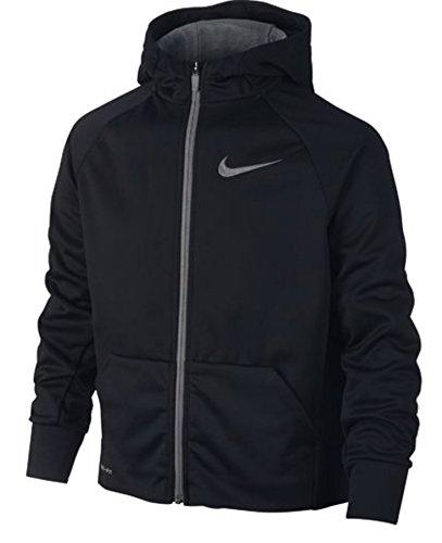 Nike Boys Therma Full-Zip Hoodie (Medium, Black/Dark Steel Grey)