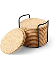 Natural Cork Coaster with Holder, Absorbent Coaster for Wine, Best for Drinks in Office, Home, or Cottage,Round, Set of 16, 4 inches