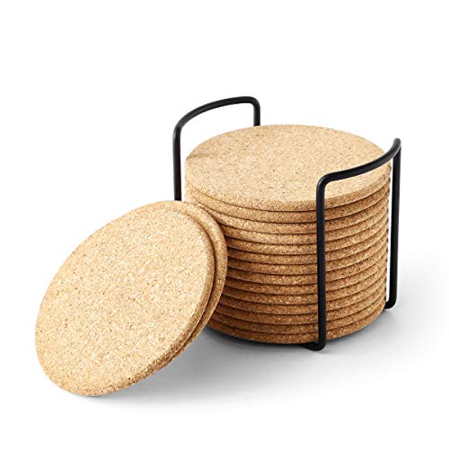 Natural Cork Coaster with Holder, Absorbent Coaster for Wine, Best for Drinks in Office, Home, or Cottage,Round, Set of 16, 4 inches -