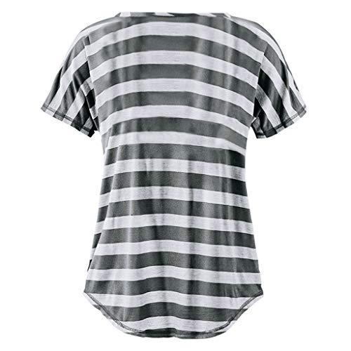 Grigio Stampata Bluse Donna T O Manica A Maglietta Corta Camicetta Da Collo Waitfor Shirt Estive X8ax68wF