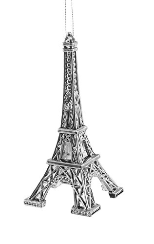 French Eiffel Tower Silver-colored Hanging Christmas Ornament
