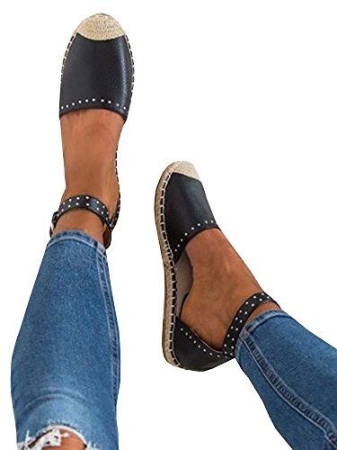 Mafulus Womens Espadrille Flat Sandals Ankle Strap Open Toe Summer Platform Wedge Sandals D - Black