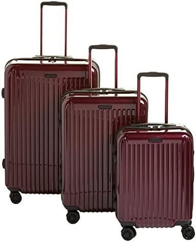 Anne Klein Dubai 3 Piece Hardside Luggage Set, Wine, One Size