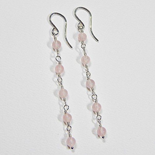 Bead Rose Quartz Earrings (Rose Quartz Dangle Earrings in Sterling Silver)