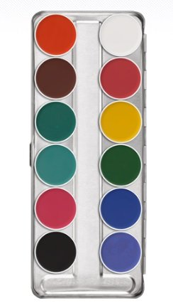 Kryolan 1104 Aquacolor Makeup Palette 12 Colors - FP2 (Brand New Colors) (Aqua Colors Face Paint compare prices)