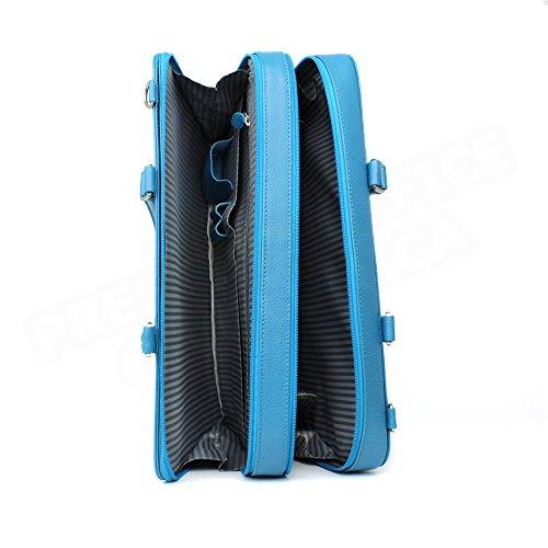 Serviette 2 Compartiments cuir Bleu turquoise Beaubourg