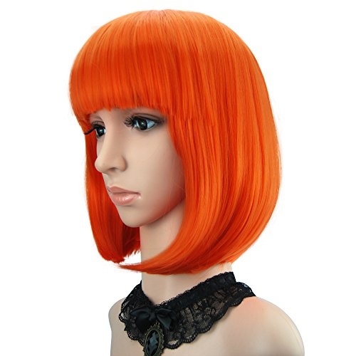 Leeloo Halloween Costume (eNilecor Short Bob Hair Wigs 12