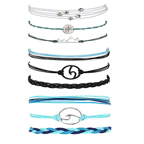 choice of all 3 Pcs Summer Surfer Wave Bracelet Adjustable Friendship Bracelet Handcrafted Jewelry Women (M:Mountain+Blue+Black) (Negative To Pc)
