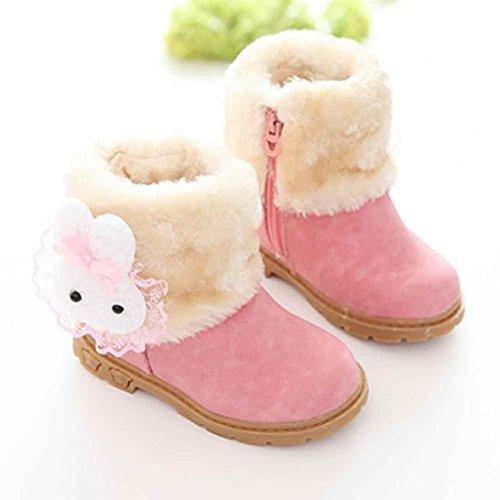 BZLine® Mädchen Schneestiefel niedlichen Kaninchen Winter Baby Kind Baumwolle Stiefel Pink