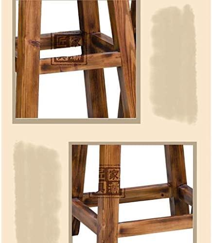 TIAN huishouden retro barkruk, massief hout leder ronde barkruk hoge kruk stoel reception stoel kruk 1211